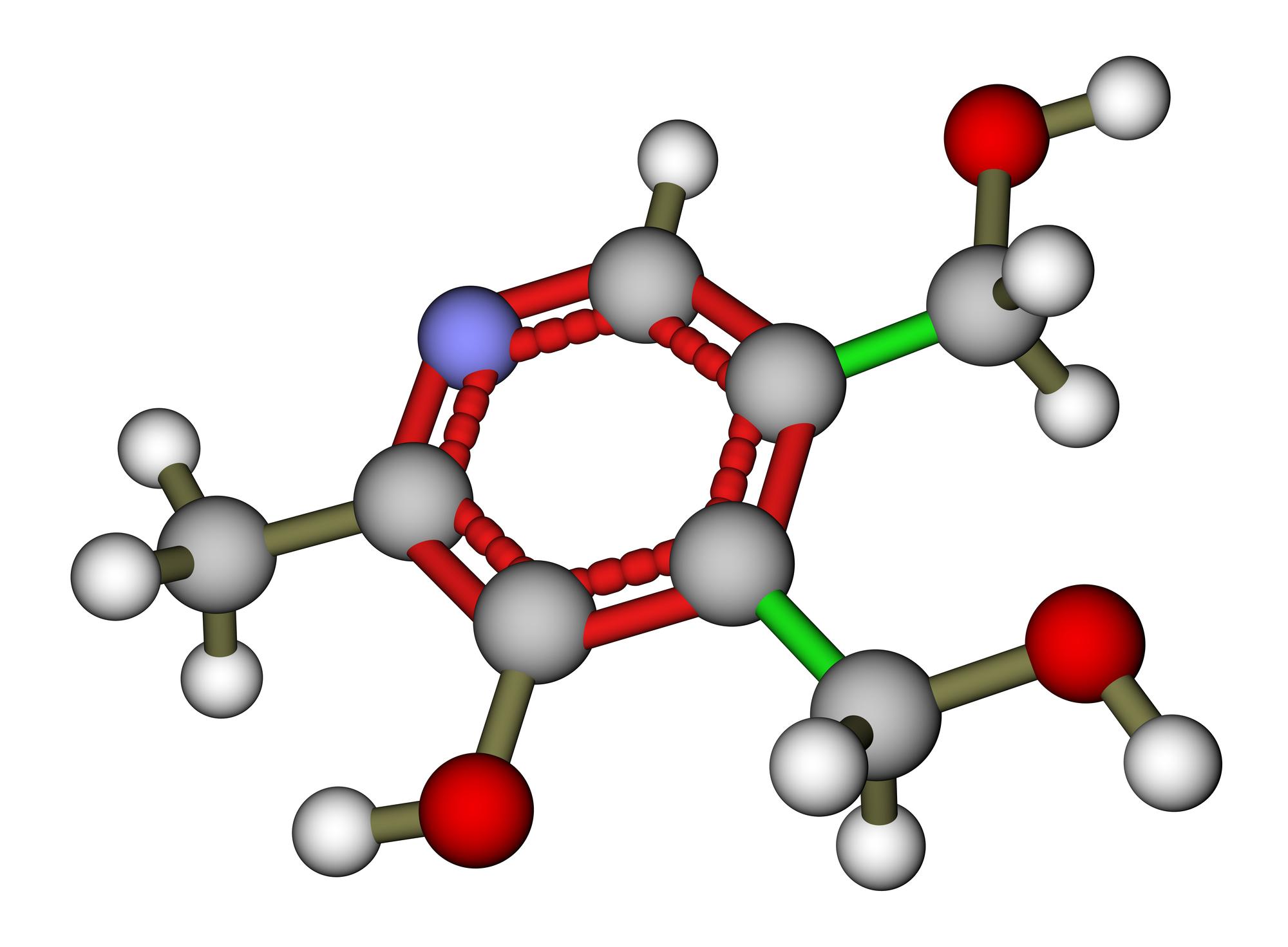 Pyridoxine (vitamin B6) molecular structure