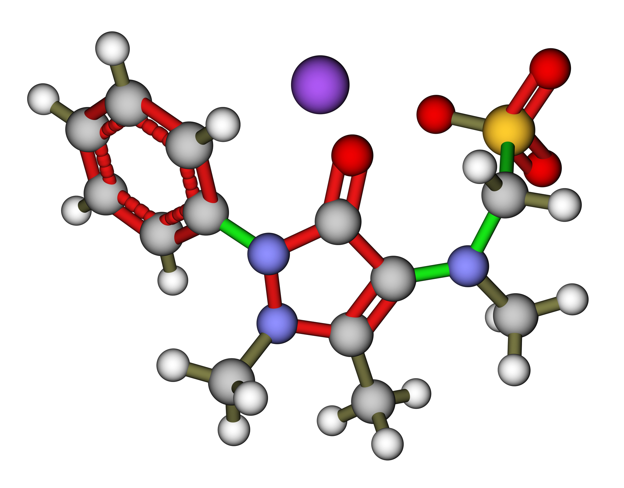 Metamizole, an analgesic and antipyretic drug. 3D molecular structure
